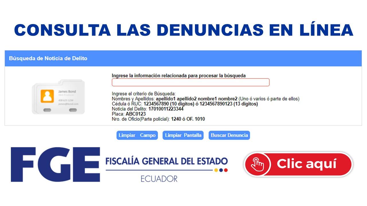 Consulta las denuncias en Línea - Fiscalía General del Estado de Ecuador