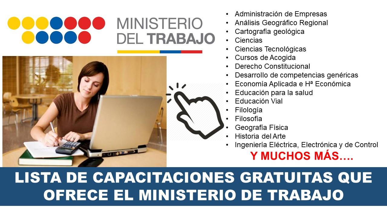 Lista de Capacitaciones Gratuitas que ofrece el Ministerio de Trabajo